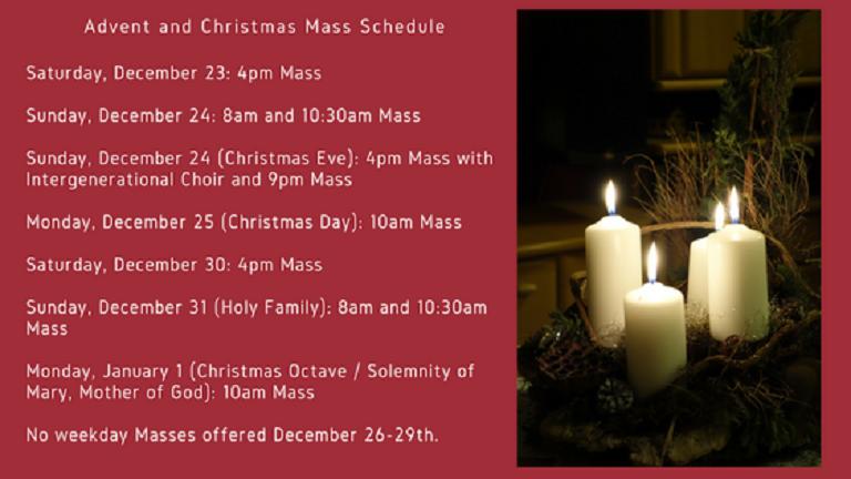December 2017 holiday mass schedule