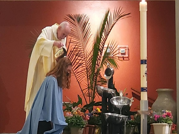 Easter Vigil 2021 Katie Harmon Baptism Siabhan May-Washington