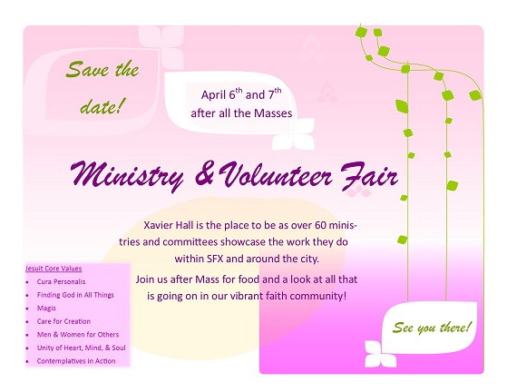 Ministry Volunteer Fair Save the Date flyer landscape