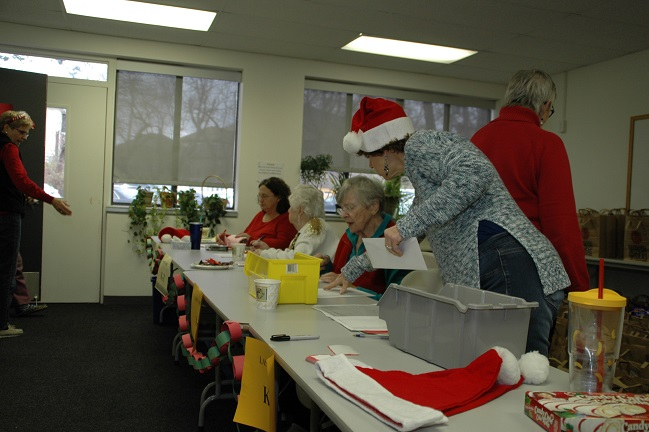 Staff and volunteers, Christmas baskets